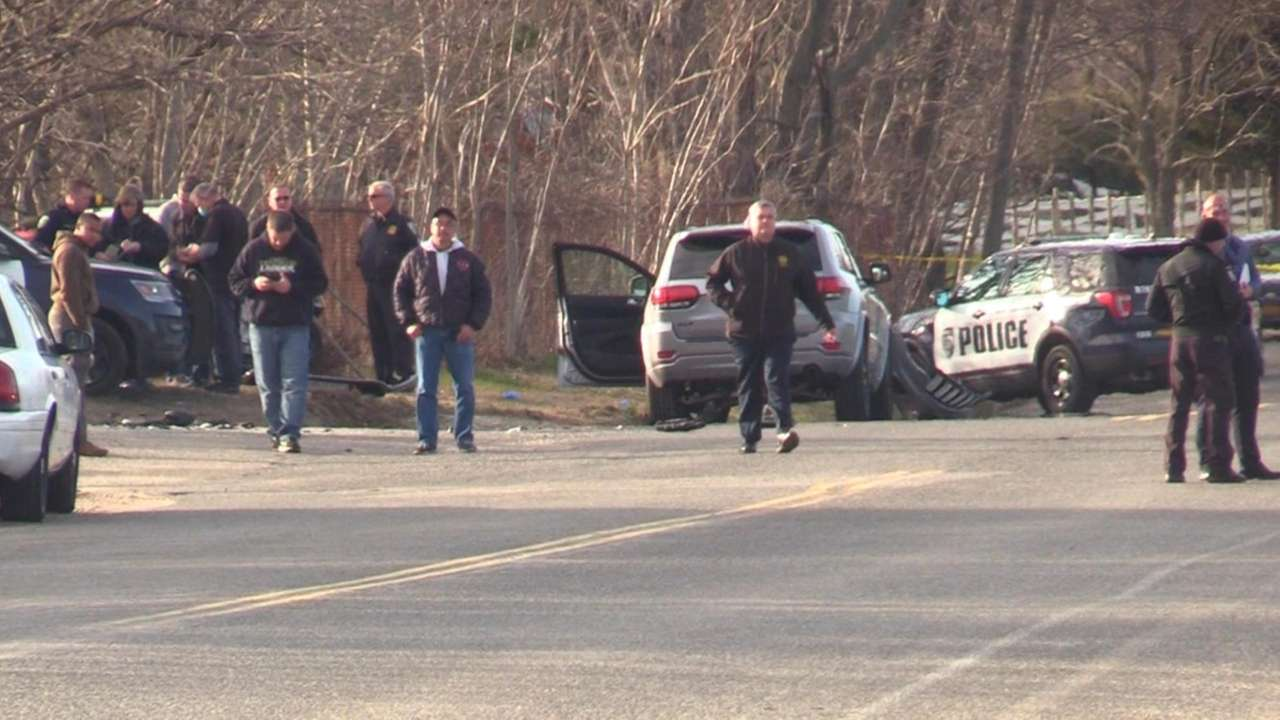 A Riverhead police officer was in serious condition
