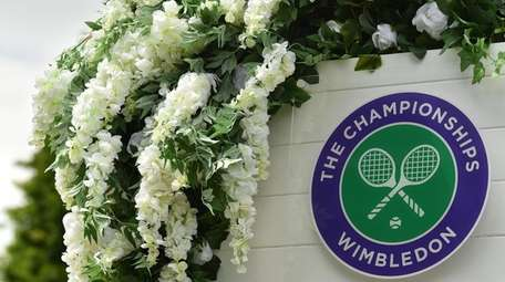 The Wimbledon logo is seen at The All