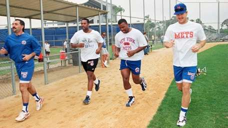 New York Mets players, from left, John Franco,