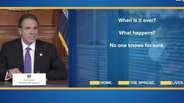 Gov. Andrew Cuomo at a press briefing discussing