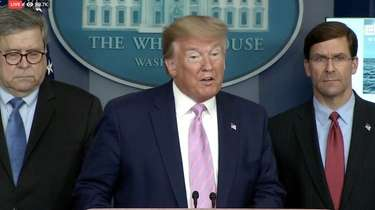 President Donald Trump speaks during the Coronavirus Task