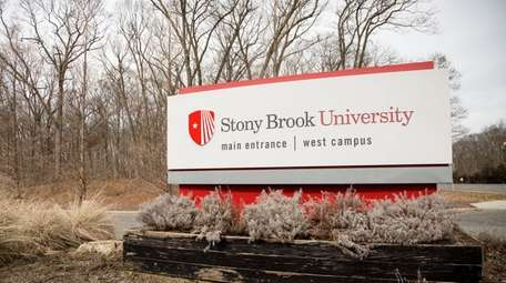 A sign for Stony Brook University is pictured