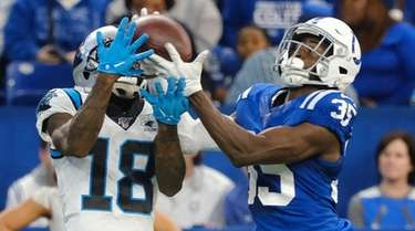 Indianapolis Colts' Pierre Desir makes in interception against