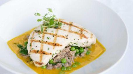 "Vibrant swordfish ""chop"" grilled swordfish with sweet sausage"