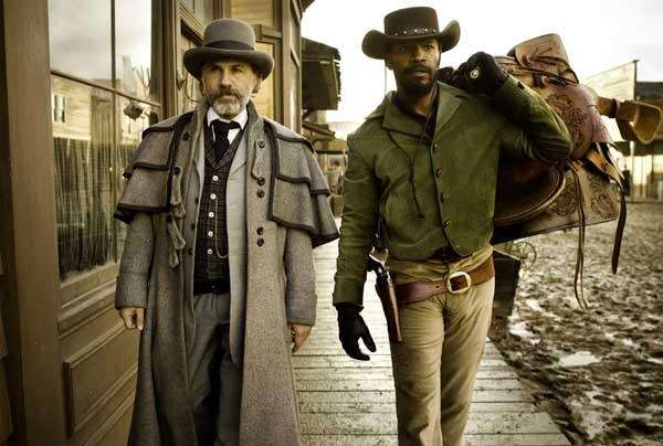 Christoph Waltz, left, as Schultz and Jamie Foxx