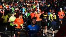 Joggers ran through Central Park on November 4