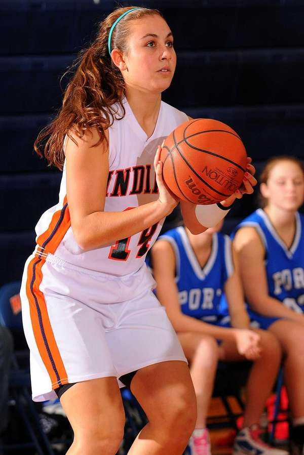 Manhasset's Jackie Albanese sqaures to the basket for