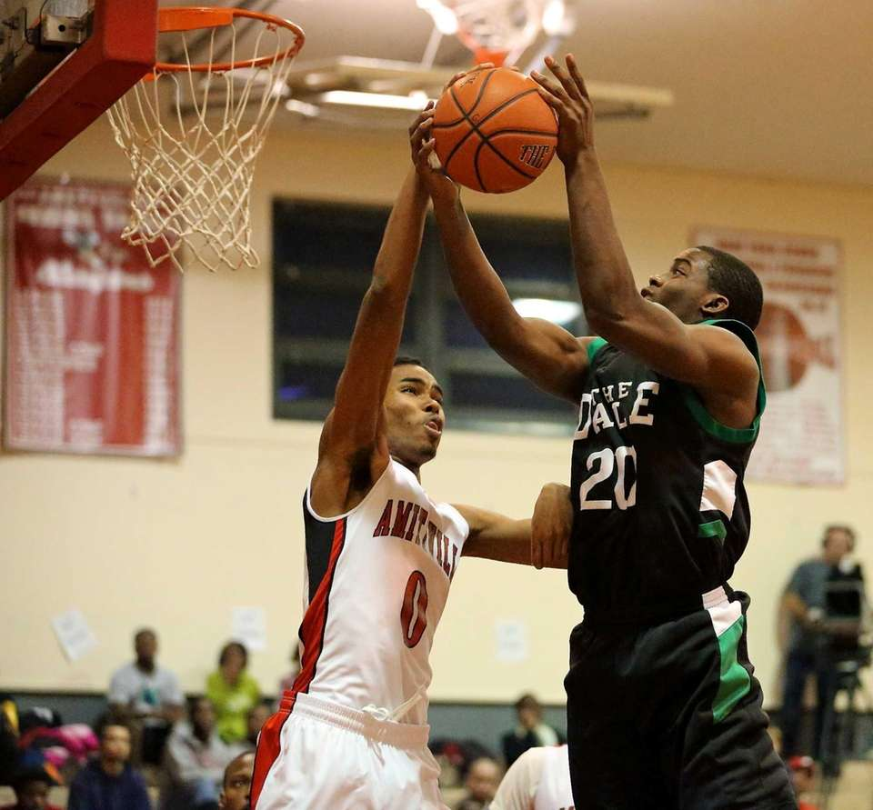 Farmingdale's Kevin Petit-Frere gets his shot blocked by