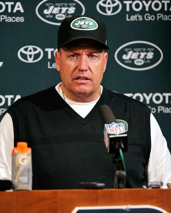 Rex Ryan takes questions from the media after