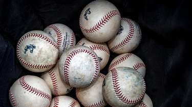 Baseballs are seen during Yankees spring training in