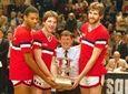 St. John's basketball coach Lou Carnesecca, center, flanked,