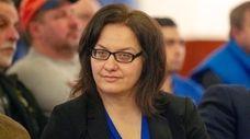 Jodi Franzese during a Nassau County Legislature meeting