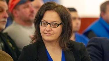Jodi Franzese during a Nassau County Legislature meeting