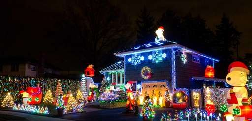"""Snoopy's Christmas Wonderland"" at the Hicksville home of"