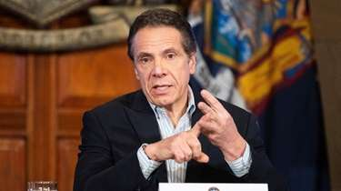 New York Governor Andrew Cuomo speaking at a