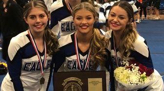 Hauppauge cheerleaders, left to right, Alexa DiBenedetto, Olivia