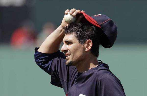 Minnesota Twins pitcher Carl Pavano looks on during