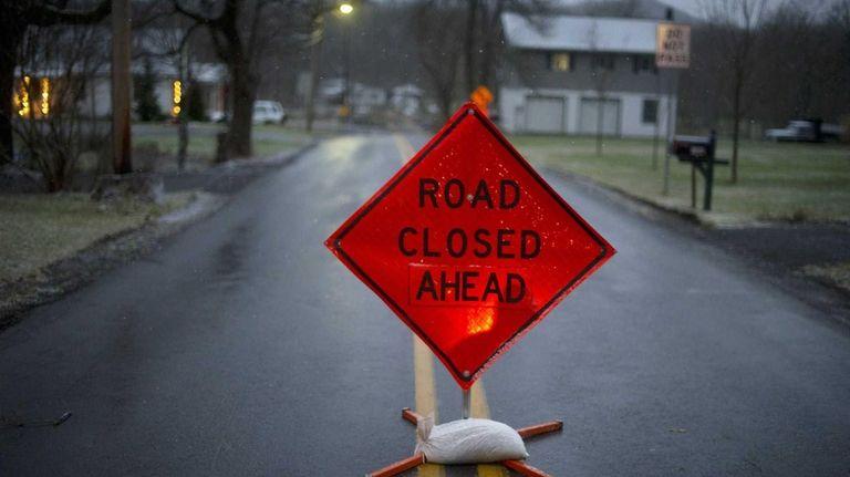 The road block seen on Juniata Valley Road
