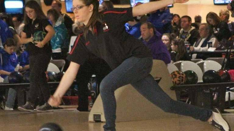 East Islip's Lena Sorrentino bowls in the Suffolk