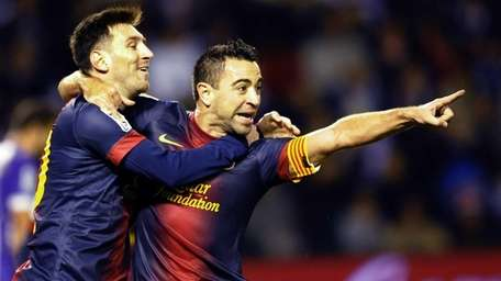 FC Barcelona's Lionel Messi, left, from Argentina, and