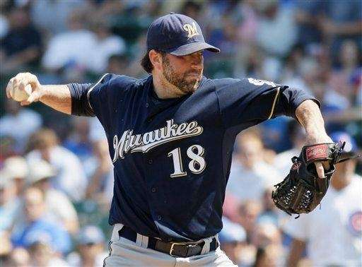 Milwaukee Brewers starter Shaun Marcum delivers a pitch