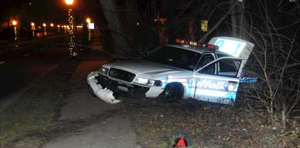 A Suffolk County police officer crashed his car