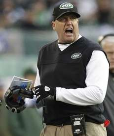 Jets head coach Rex Ryan reacts during the