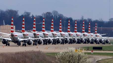 American Airlines planes stored at Pittsburgh International Airport