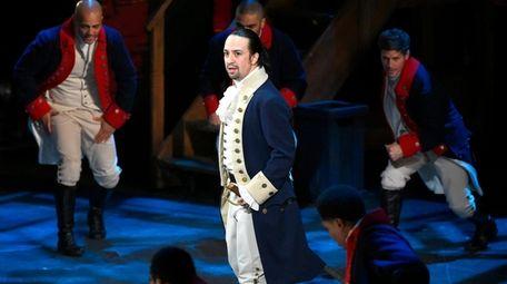 "Lin-Manuel Miranda and the cast of Broadway's ""Hamilton"""