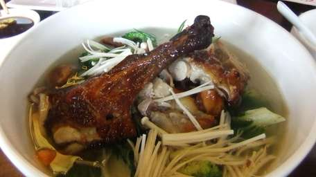 The roast duck egg noodle soup at Ruby