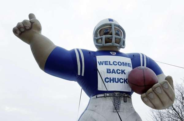 A sign welcomes back Indianapolis Colts head coach