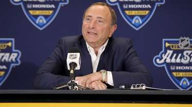 Commissioner Gary Bettman speaks to the media prior