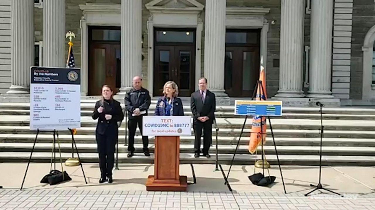 Nassau County Executive Laura Curran, at a news