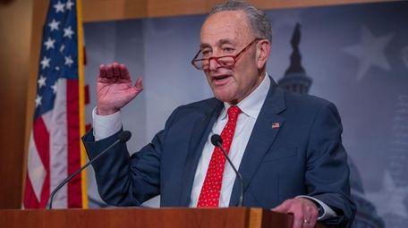 Democratic Senate Minority Leader Chuck Schumer speaks to