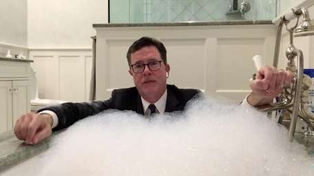 Stephen Colbert talks from his tub.