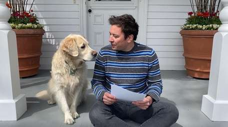 Host Jimmy Fallon and his dog Gary