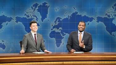 """Weekend Update"" anchors Colin Jost and Michael Che"
