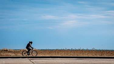 A man rides a bike along the walkway