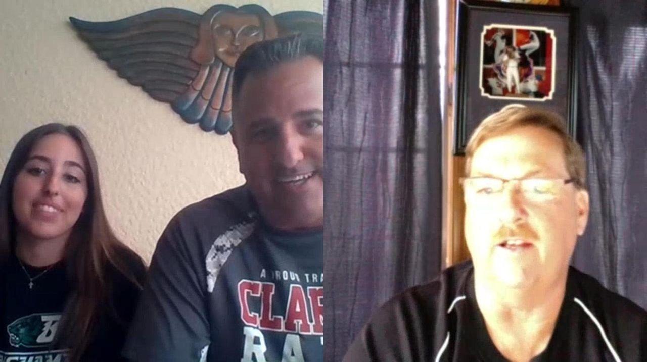 Clarke baseball coach Tom Abruscato and Hauppauge softball