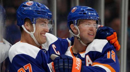 Josh Bailey (right) of the Islanders celebrates his