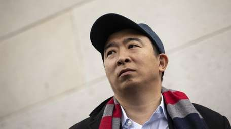 Then-Democratic presidential candidate Andrew Yang in Washington Square