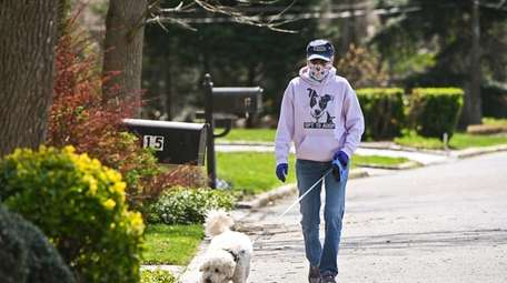 Beth Goldin, walks a clients dog in Dix