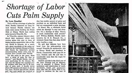 Newsday's coverage of shortages for Palm Sunday -