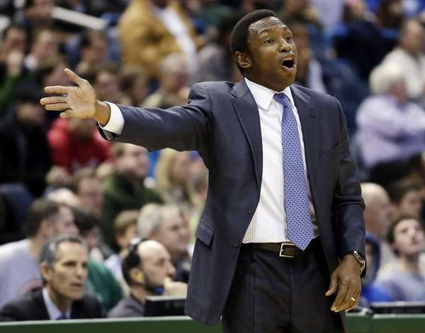 Brooklyn Nets head coach Avery Johnson reacts to