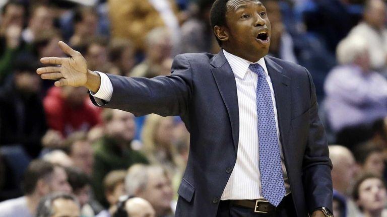 Brooklyn Nets head coach Avery Johnson reacts to