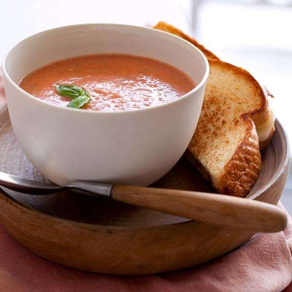 The 10-Minute Creamy Tomato-Basil soup recipe can be