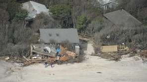 An aerial view of debris from destroyed homes