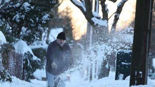 Tom Falco of Absecon uses a snow blower