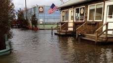 Flooding in Ocean Beach is shown from the