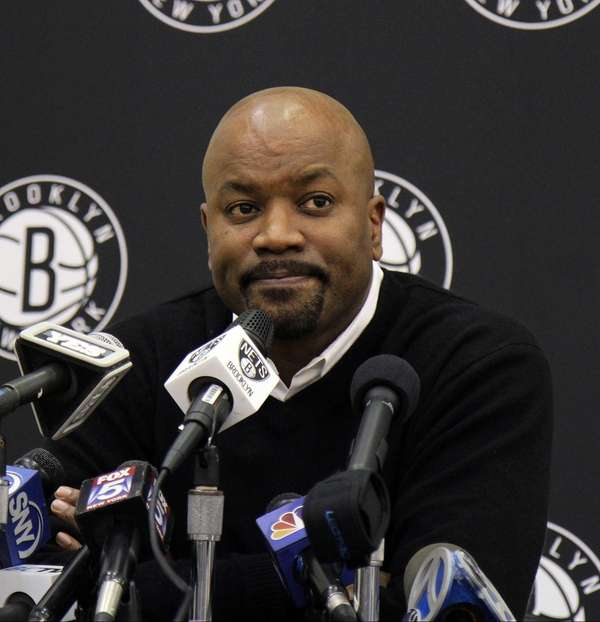 Nets GM Billy King talks to media at